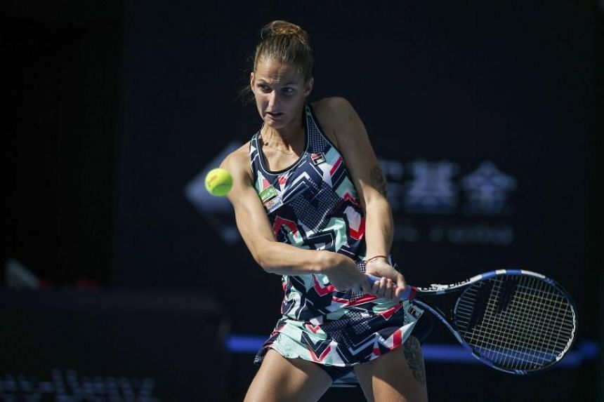 Karolina Pliskova of the Czech Republic in action against Romania's Sorana Cirstea (not pictured) during their third-round match of the China Open in Beijing on Oct 5, 2017.