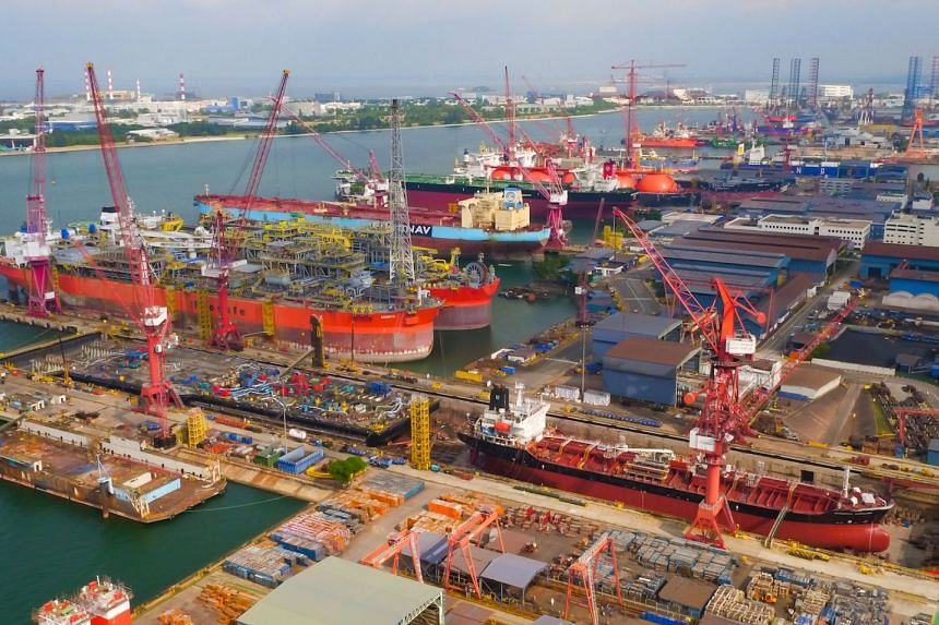 An aerial view of Keppel Shipyard in Singapore.
