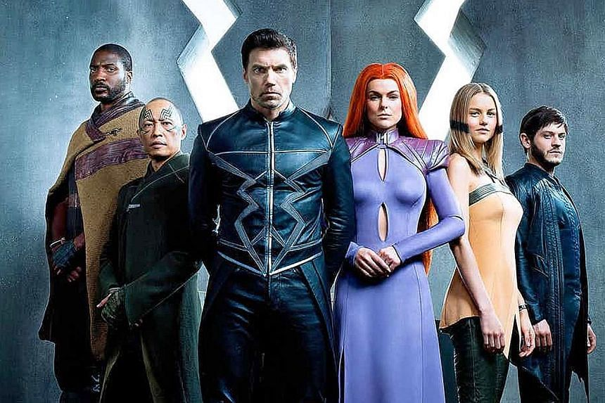 The cast of Inhumans (from far left) Eme Ikwuakor, Ken Leung, Anson Mount, Serinda Swan, Isabelle Cornish and Iwan Rheon.