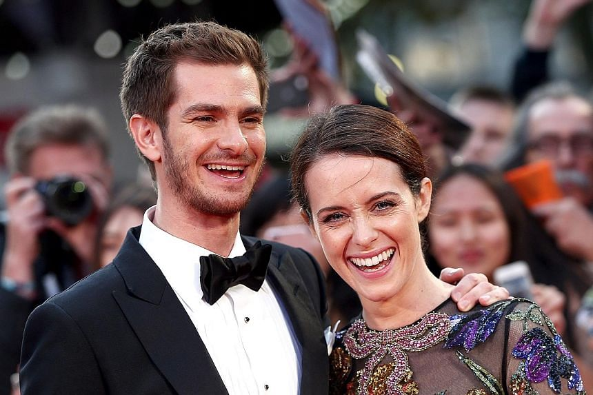 Co-stars Andrew Garfield and Claire Foy at the premiere of Breathe on the opening night of the BFI London Film Festival on Wednesday.