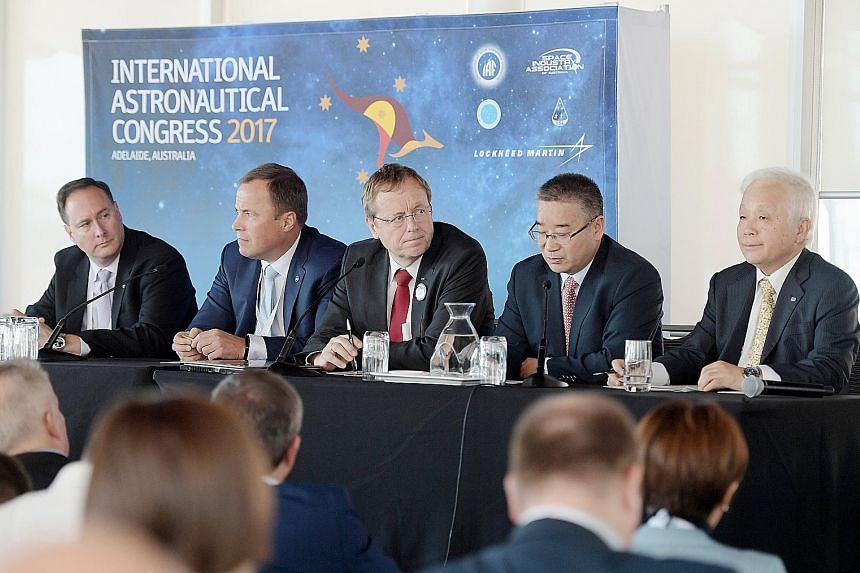 (From left) US National Aeronautics and Space Administration acting administrator Robert Lightfoot, Russian Roscosmos State Corporation for Space Activities head Igor Komarov, European Space Agency director-general Jan Woerner, China National Space A