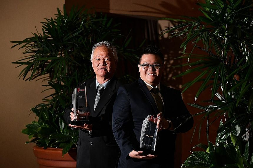 Mr Yeo Cheong Guan, 63, managing director of Eng Bee Paper Merchant, and Mr Willy Tan, 27, director of ForBis Accounting, with the NS Advocate Award for SMEs handed out to their firms for their exemplary support for Total Defence and NS.
