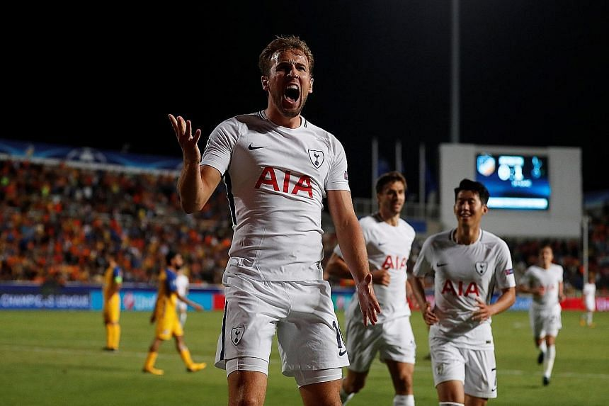 Tottenham striker Harry Kane celebrating his second goal against Apoel Nicosia in the Champions League. The England international's hat-trick against the Cypriot side was among the 13 goals he scored in September.