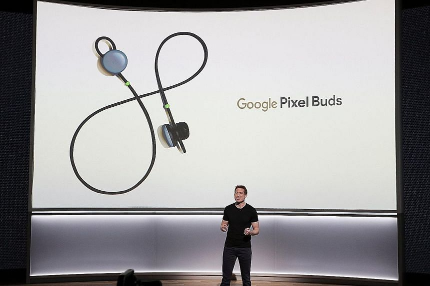 Google product manager Juston Payne introducing the Pixel Buds at the launch in San Francisco on Wednesday.