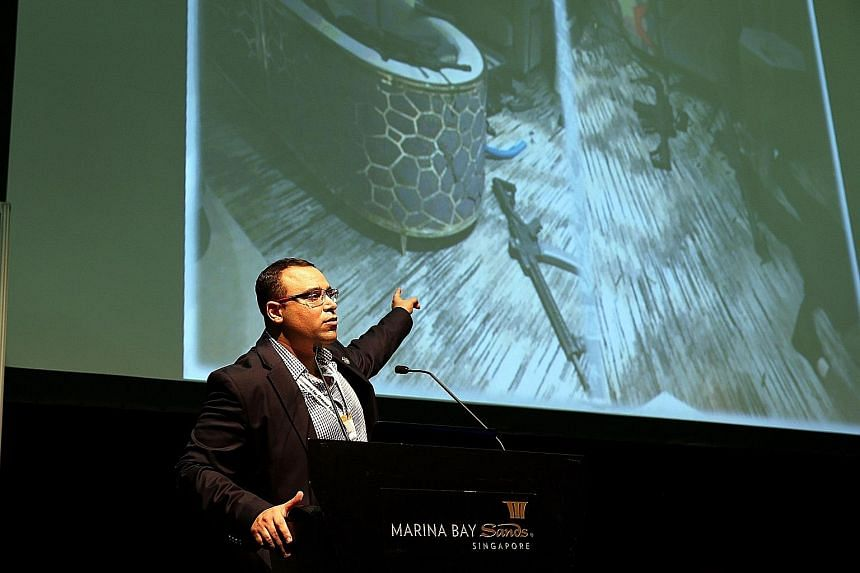 Anti-terrorism expert Yaniv Peretz showing an image of the hotel room in Las Vegas from which lone gunman Stephen Paddock fired on concertgoers about 400m away on Sunday. Speaking at the Security Industry Conference 2017 yesterday, he said the gunman