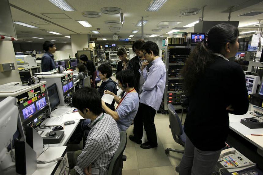 The newsroom of NHK, a Japanese broadcaster widely considered as the country's most authoritative news source, in Tokyo, Oct. 23, 2012.