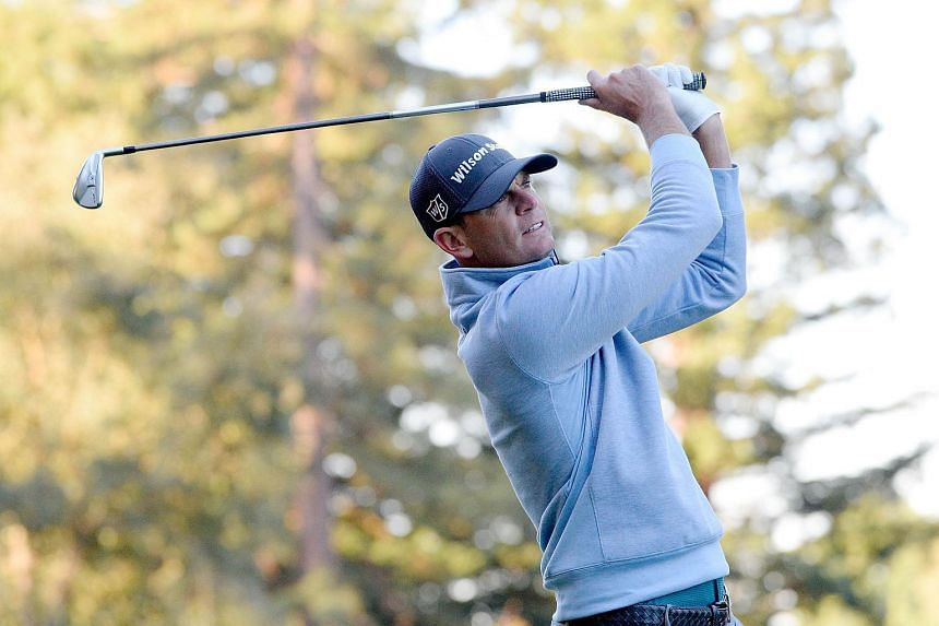 Brendan Steele plays his shot from the 12th tee during the first round of the Safeway Open at the North Course of the Silverado Resort and Spa on Oct 5, 2017 in Napa, California.