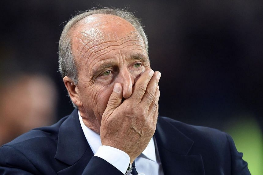 Italy's head coach Gian Piero Ventura reacts during the match.