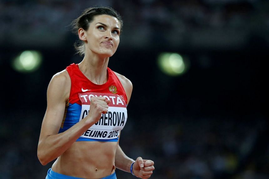 Anna Chicherova competing in the IAAF World Championships in Beijing, Aug 29, 2015.