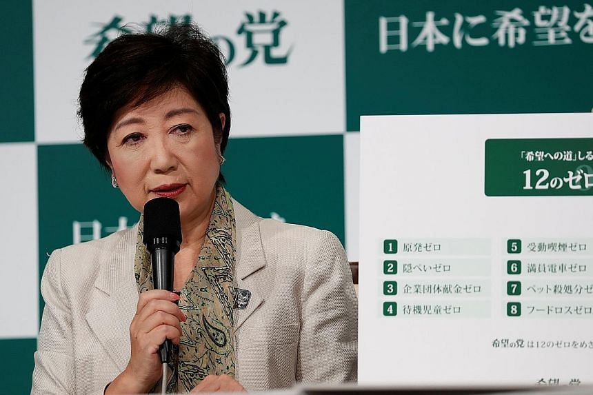 Tokyo Governor Yuriko Koike's Kibo No To party has made populist calls to freeze a scheduled sales tax hike in 2019 and phase out nuclear power, as part of an effort to set itself apart from the government on key issues.
