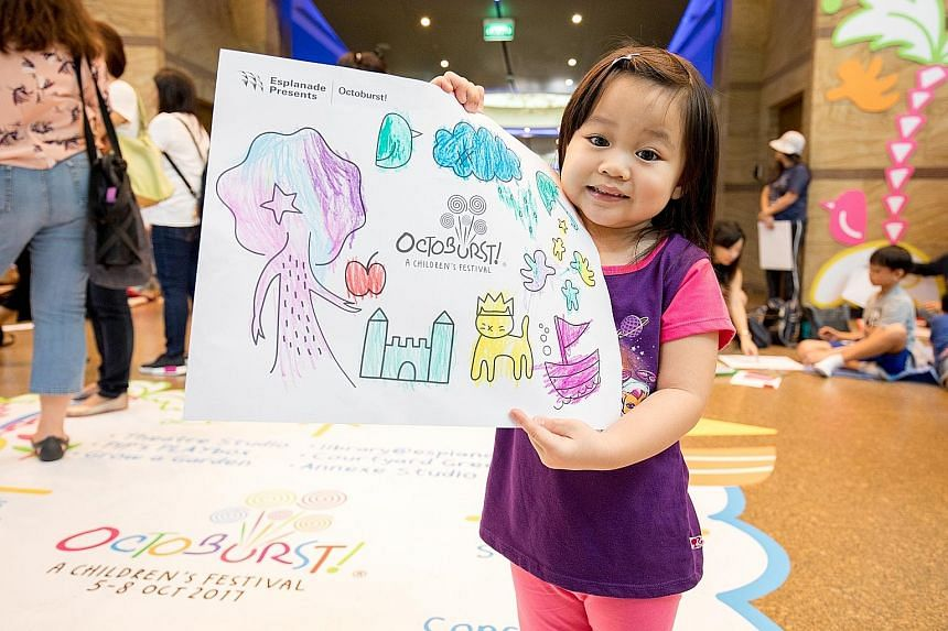 More than 900 children doodled and coloured to their hearts' content at art activities at the Esplanade - Theatres on the Bay on Children's Day yesterday. Children aged five to 12 took part in a drawing contest, while those aged two to four were invo