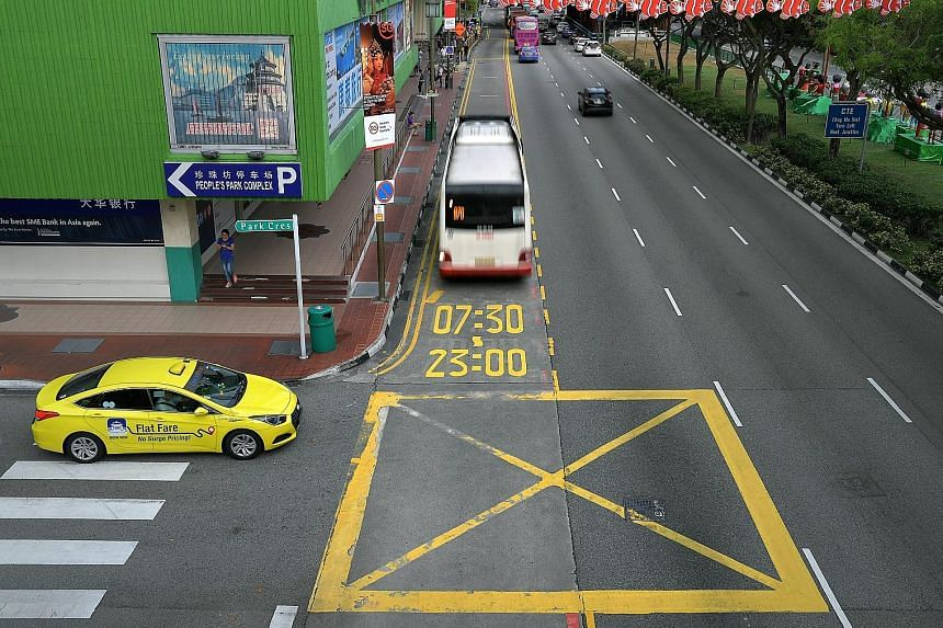 In Eu Tong Sen Street, the operating hours of bus lanes are marked on the ground, a move aimed at heightening awareness. The LTA said such measures have helped to reduce the number of summonses issued for incursions into bus lanes.