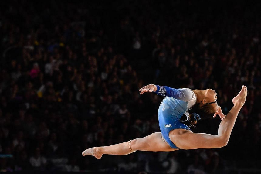 American Morgan Hurd competes on the floor exercise during the women's individual all-around final of the Artistic Gymnastics World Championships on Oct 6, 2017.