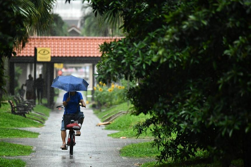 A cyclist under the rain near Blk 843 Tampines Street 83 on Oct 07, 2017.