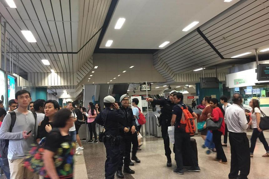 A photo taken at Ang Mo Kio station on Oct 7, 2017. In a tweet at 5.36pm, train operator SMRT said there was no train service between the two stations towards Marina South Pier.