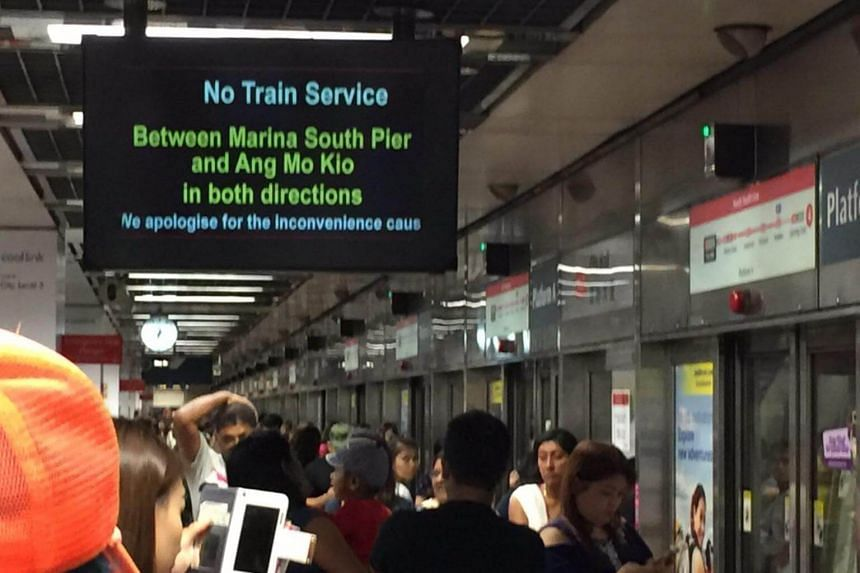 A display shows a train disruption at City Hall station on Oct 7, 2017.