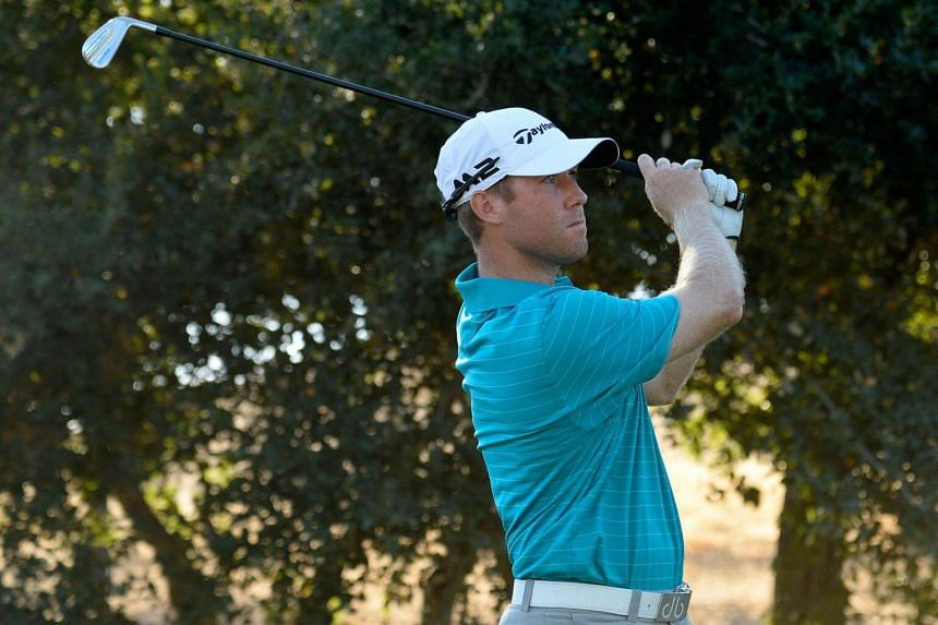 Tyler Duncan plays his shot from the fourth tee during the second round of the Safeway Open at the North Course of the Silverado Resort and Spa on Oct 6, 2017 in Napa, California.