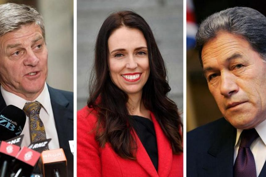 A combo of file photographs showing Bill English (L) speaking to the media during a press conference at Parliament in Wellington on Dec 5, 2016, leader of the Labour Party Jacinda Ardern (C) posing on the steps at Parliament in Wellington on Aug 1, 2