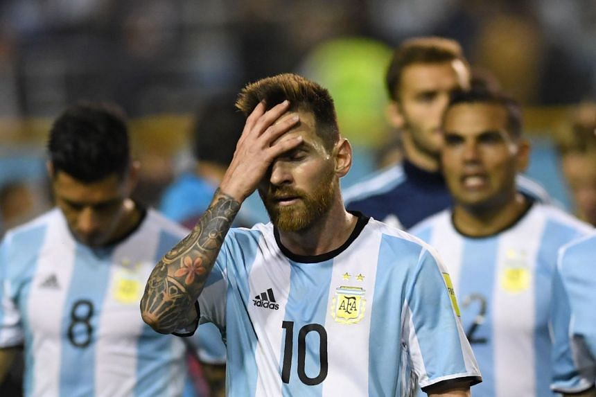 Messi gestures at the end of the goalless 2018 World Cup qualifier football match against Peru.