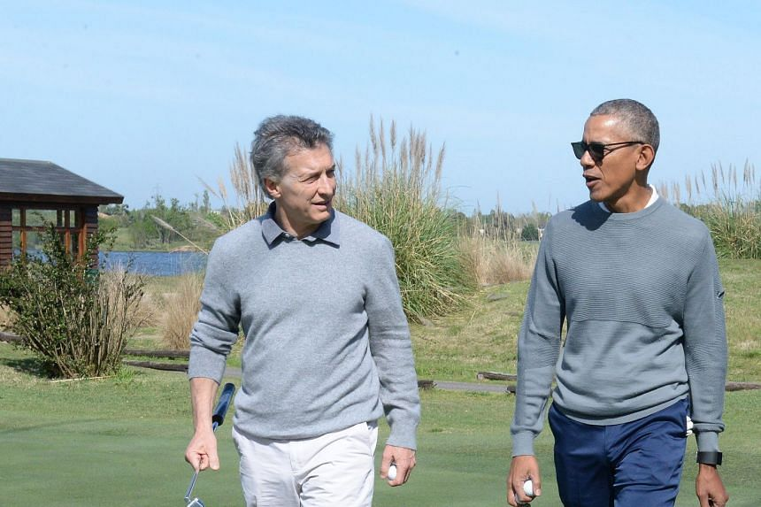 Macri (left) and Obama in a photo made available by the presidency of Argentina.