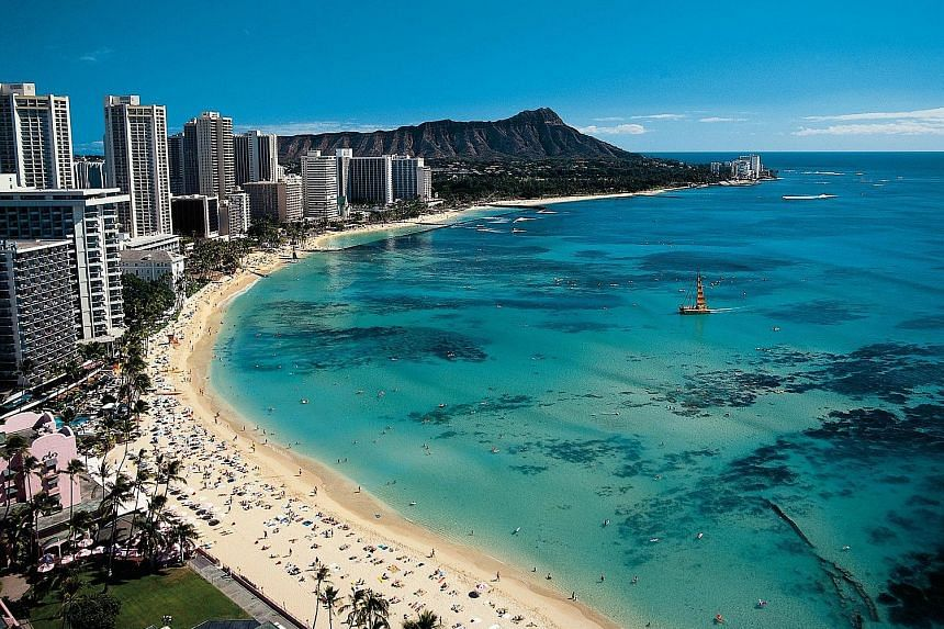 A view of Waikiki beach in Honolulu. Scoot has announced the launch of a new service from Singapore to Honolulu with a stopover in Osaka, starting on Dec 19.