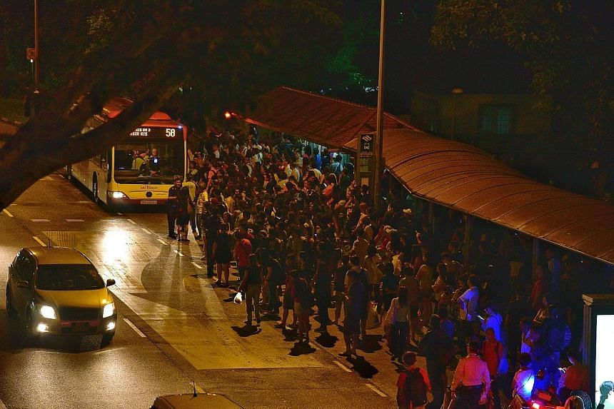 Crowds outside Bishan MRT station as train services along the North-South Line were disrupted yesterday. SMRT first tweeted at about 5.35pm about a disruption between Bishan and Toa Payoh MRT stations, but later said train services between Ang Mo Kio