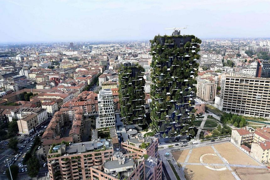 View of the architectural complex designed by Studio Boeri, the Bosco Verticale (Vertical Forest), in the Porta Nuova area in Milan on Sept 6, 2017.