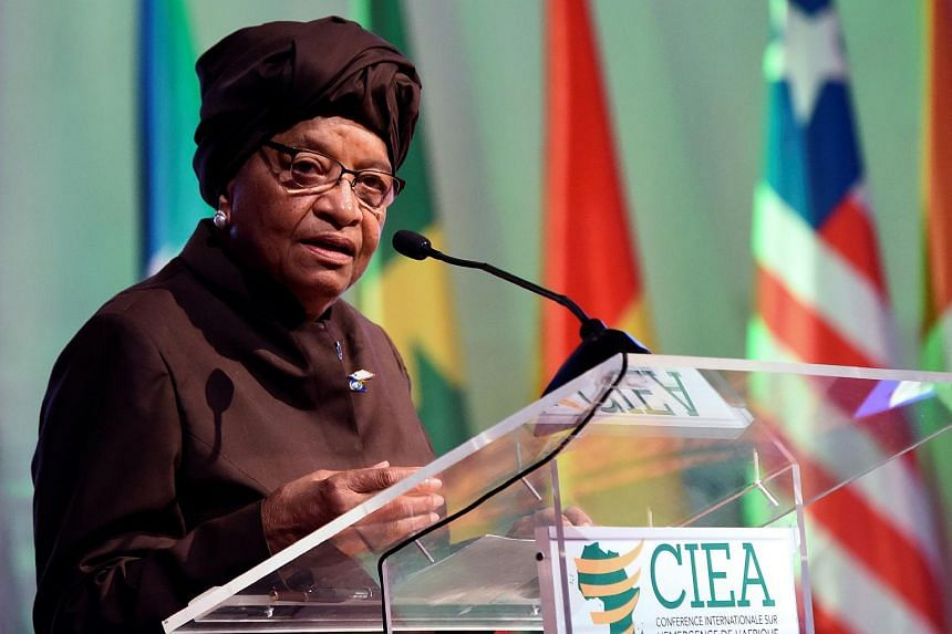 Liberian President Ellen Johnson Sirleaf delivering a speech during the opening of the 2017 International Conference on the emergence of Africa in Abidjan on March 28, 2017.