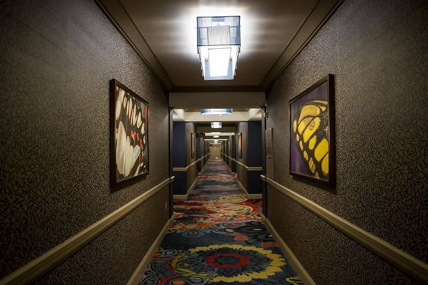 A hallway on the 33rd floor of the Mandalay Bay Resort and Casino in Las Vegas, one floor above the suite where Stephen Paddock opened fire on concert-goers on Oct 3, 2017.