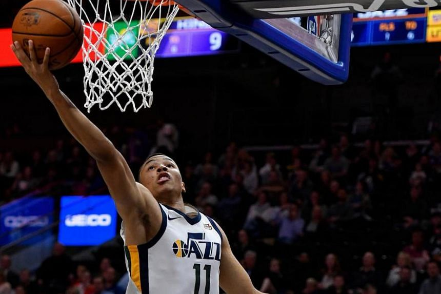Dante Exum scores in the first half of the preseason game at Vivint Smart Home Arena on Oct 2, 2017.