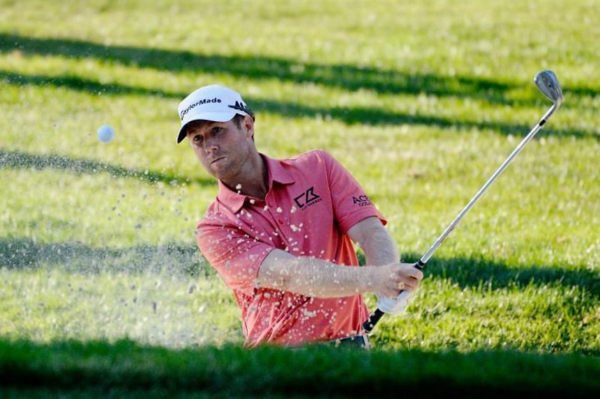 Tyler Duncan plays his shot out of the bunker on the 17th tee during the third round of the Safeway Open at the North Course of the Silverado Resort and Spa on in Napa, California on Oct 7, 2017.
