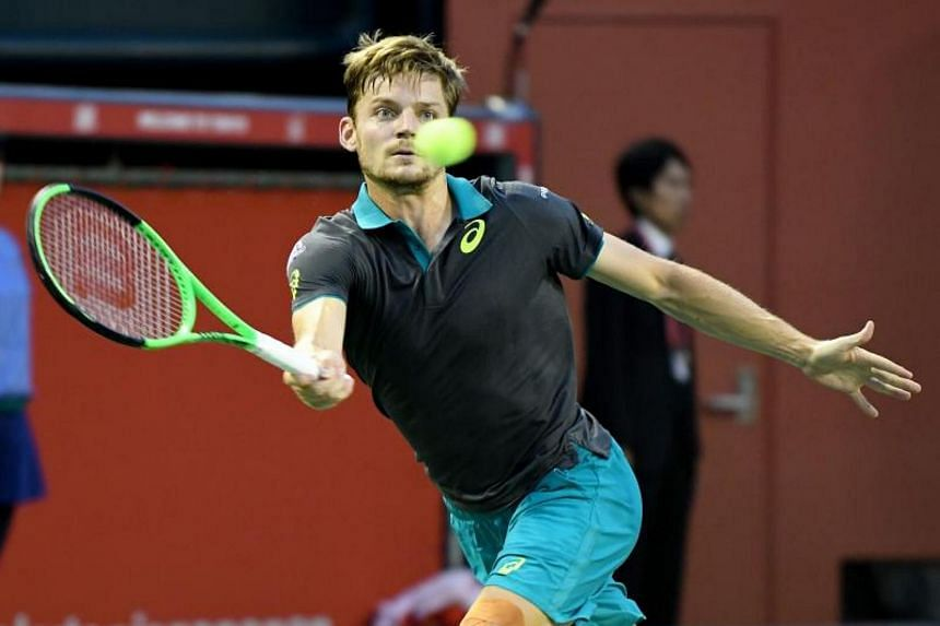 David Goffin during the men's singles final match during the Japan Open tennis tournament in Tokyo on Oct 8, 2017.