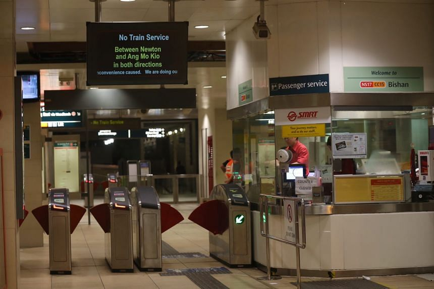 MRT services between Ang Mo Kio and Newton stations were still down as of 6.20am on Sunday (Oct 8) morning.