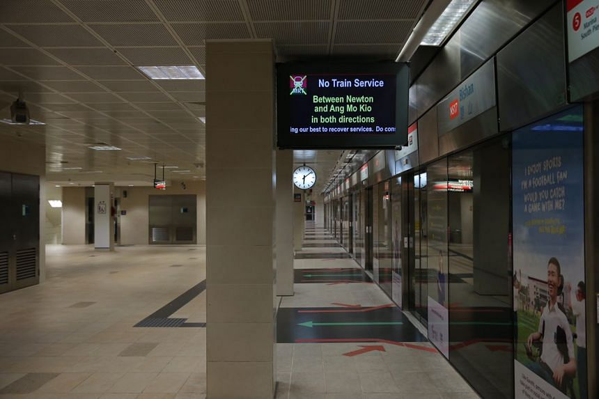 MRT services between Ang Mo Kio and Newton stations were still down as of 6:20am on Sunday (Oct 8) morning.