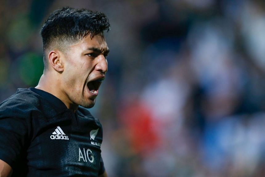 New Zealand's Rieko Ioane celebrates after scoring a try.