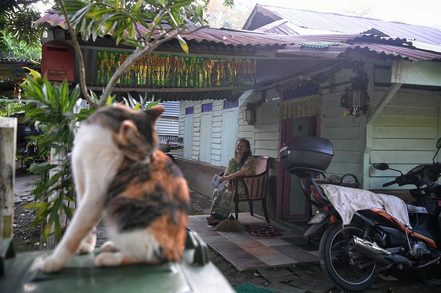 8.06AM:  Above: Ms Aton, 64, rests at her porch with a copy of the Berita Harian.