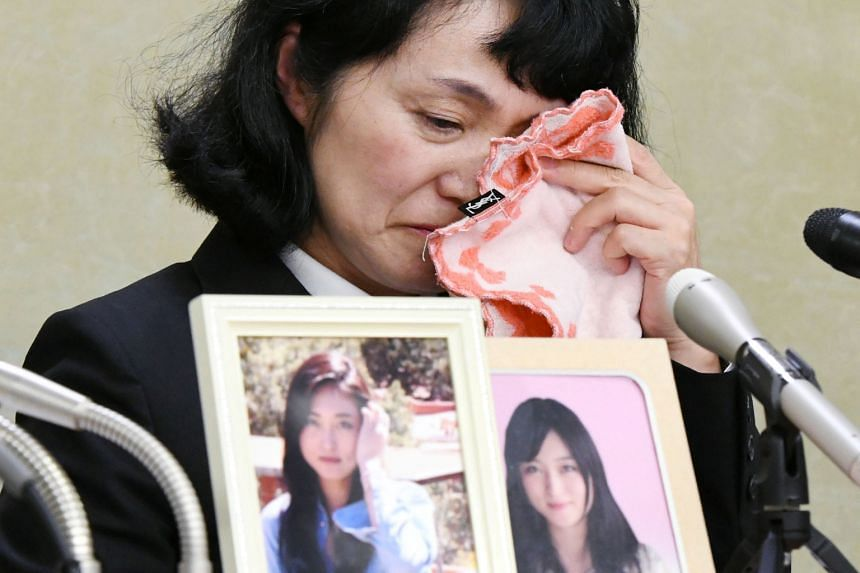 Ms Yukimi Takahashi, mother of Ms Matsuri Takahashi, an overworked worker who committed suicide, at a news conference in Tokyo on Friday.