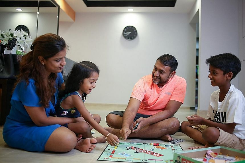 Manager Balamurali Murugan, 38; his wife, Ms Priya Govindaraju, 36, who is a manager at the Land Transport Authority; and their children, Sarisha Diya, four, and Sachin Dev, 10. Mr Murugan found it easier to quit smoking as his children were growing