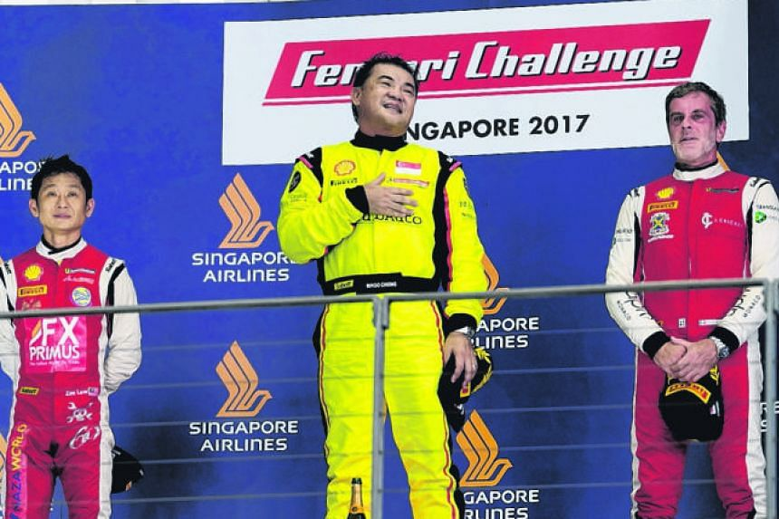 A proud Ringo Chong on the podium at last month's Ferrari Challenge Asia-Pacific with Malaysia's Zen Low (second) and Italy's Angelo Negro.