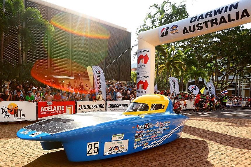 NITech Solar Racing vehicle Horizon 17 from Japan leaving the starting line in Darwin yesterday. The 3,000km World Solar Challenge across Australia is one of the world's foremost innovation challenges, with teams looking to show designs that could le