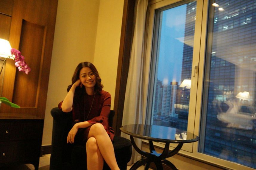 Joanna Dong, who placed third in Sunday's Sing! China reality singing contest in Beijing, at an exclusive interview with The Straits Times.