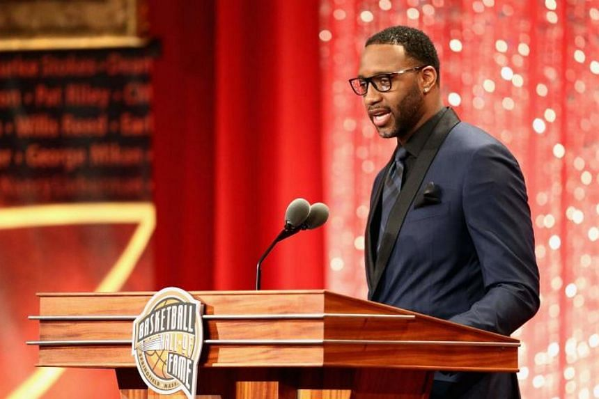 Tracy McGrady during the 2017 Basketball Hall of Fame Enshrinement Ceremony at Symphony Hall in Springfield, Massachusetts on Sept 7, 2017.