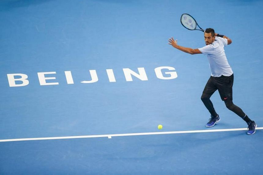 Nick Kyrgios of Australia in action during his men's singles final match against Rafael Nadal of Spain at the China Open tennis tournament in Beijing, China, on Pct 8, 2017.