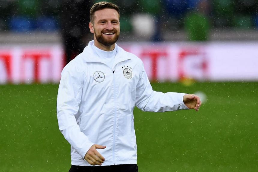 Arsenal's Shkodran Mustafi had to be taken off after 36 minutes when he was injured in the build-up to Azerbaijan's equaliser, grabbing his right thigh in pain with no opponents near him.