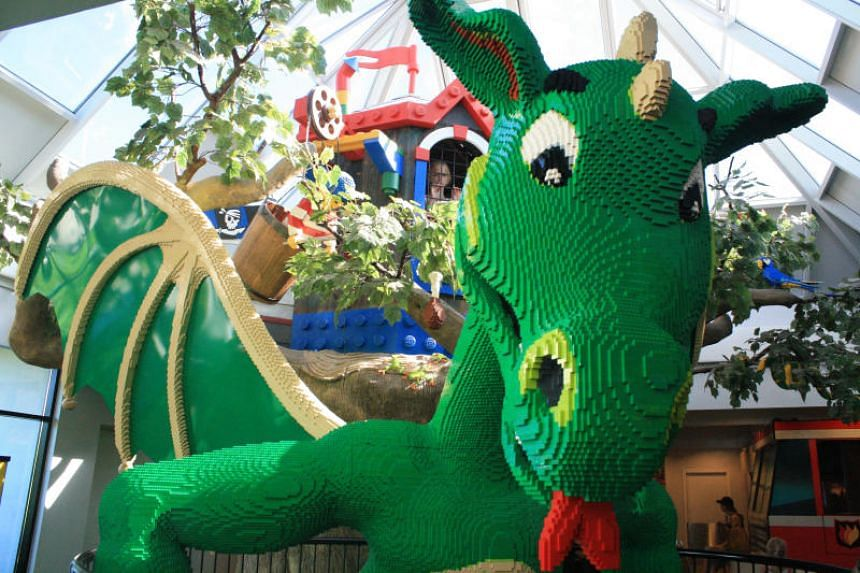 A Lego sculpture of a dragon, complete with sound effects, in the lobby of Hotel Legoland in Billund, Denmark.