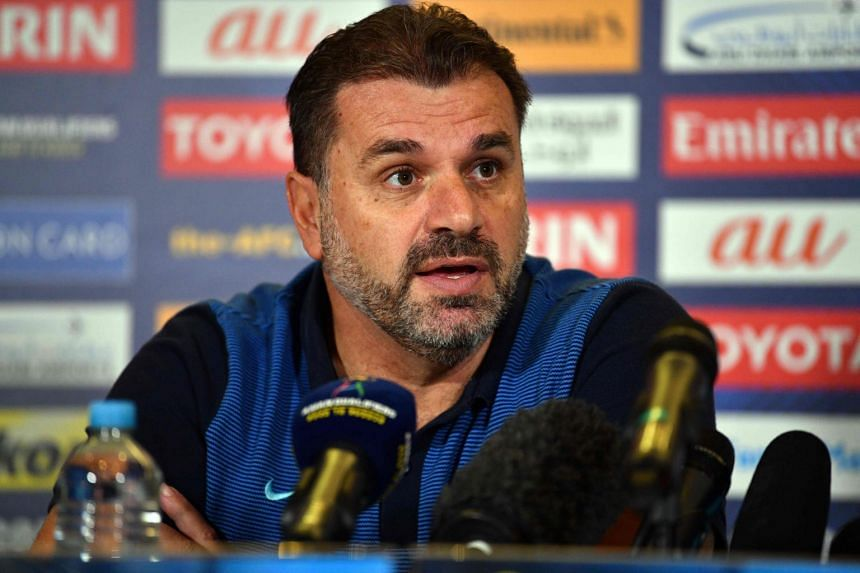 Australia's head coach Ange Postecoglou speaks at a press conference in Sydney on Oct 9, 2017.