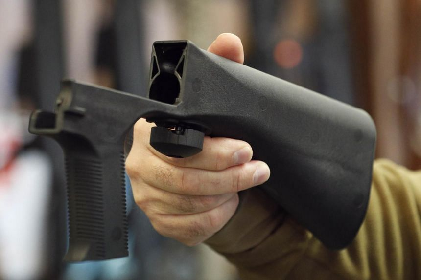 A bump stock device shown at a gun store in Salt Lake City, Utah, on Oct 5, 2017.