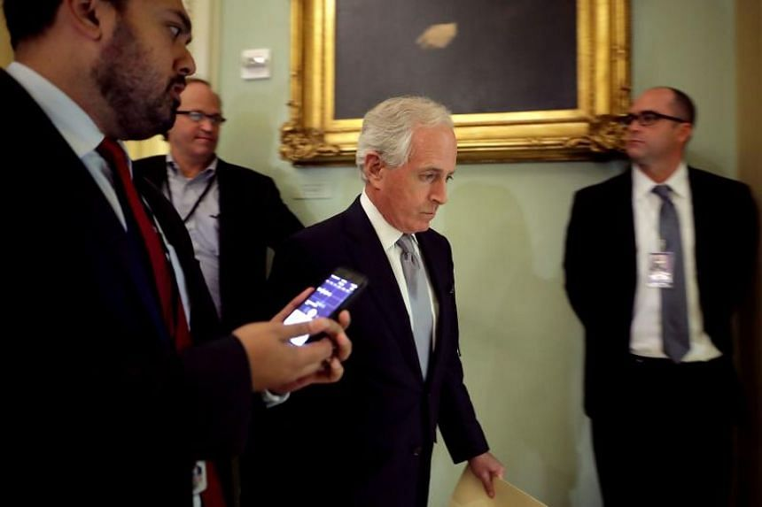 Sen. Bob Corker heads into a Senate Republican policy luncheon at the US Capitol on Aug 1, 2017.