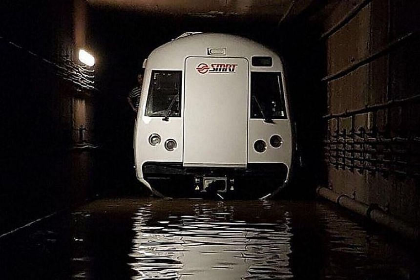 A malfunction in the water pumping system at Bishan MRT station caused rainwater to collect in the MRT tunnel, resulting in train service disruption on Saturday and Sunday.