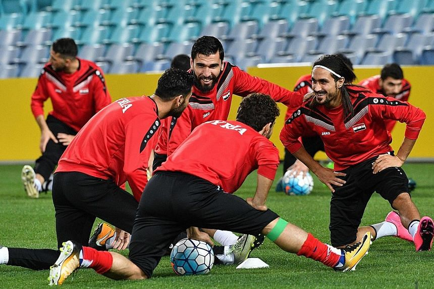 Members of the Syria squad in high spirits ahead of the second leg of their Asian play-off against Australia. The 75th-ranked side will look to defy the critics and beat the home side in Sydney.
